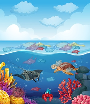 Scene with sea animals and trash in the ocean