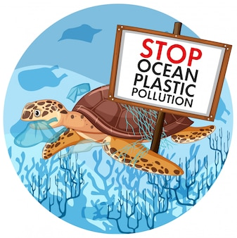 Scene  with sea turtle holding stop plastic pollution