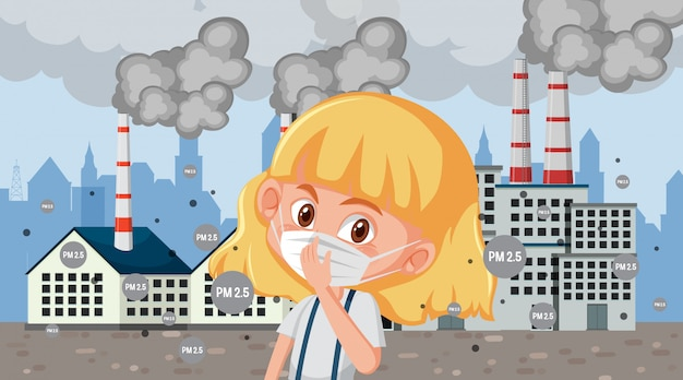 Scene with sick kid with mask in front of factory buildings