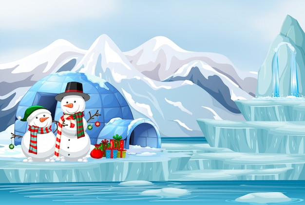 Scene with snowman and igloo