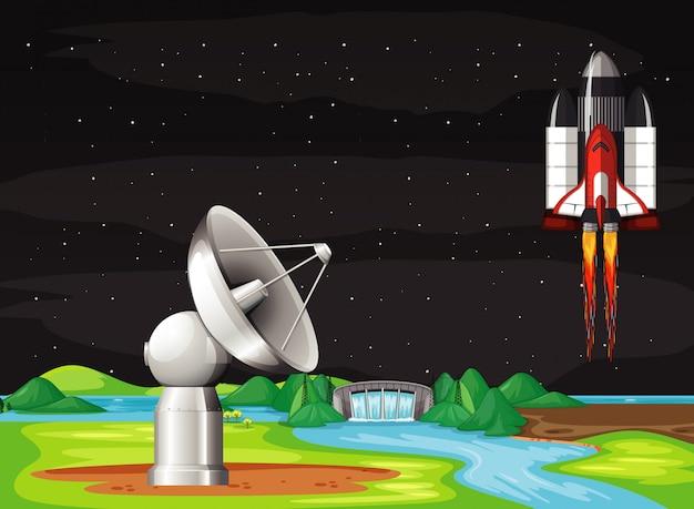 Сцена с космическим кораблем, летящим в небе