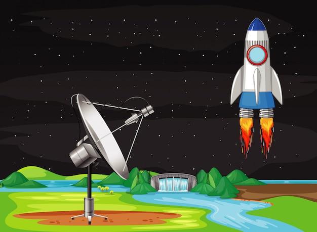 空を飛んでいる宇宙船のシーン