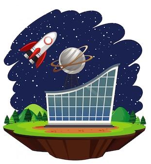大きな建物の上を飛んでいる宇宙船のシーン