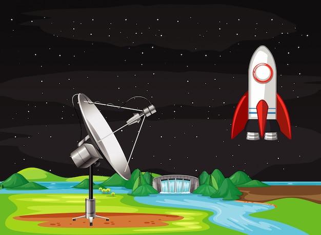 Scena con l'astronave che vola nel cielo