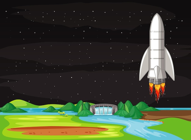 Scene with spaceship flying in the sky