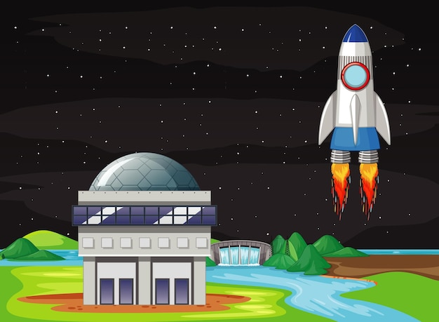 Scena con astronave che vola nel cielo