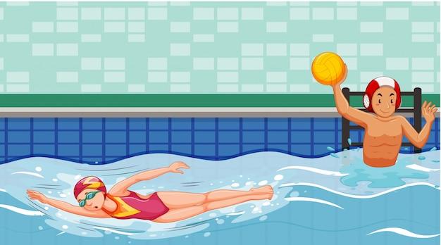 Сцена с пловцами в бассейне