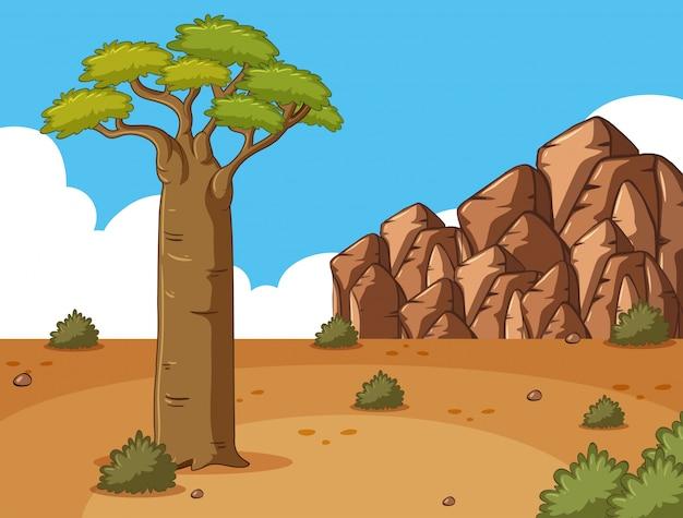 Сцена с высоким деревом и скалами
