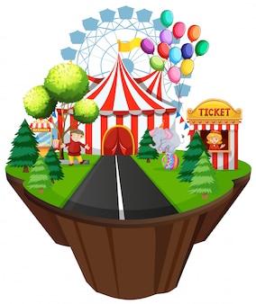 Сцена с палаткой и аттракционами на цирковых аттракционах