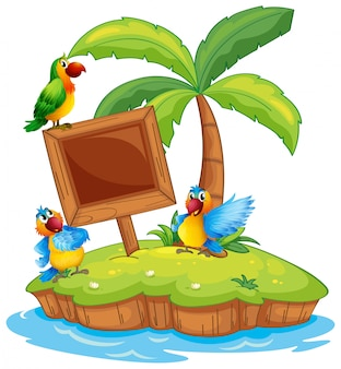 Scene with three parrots on island