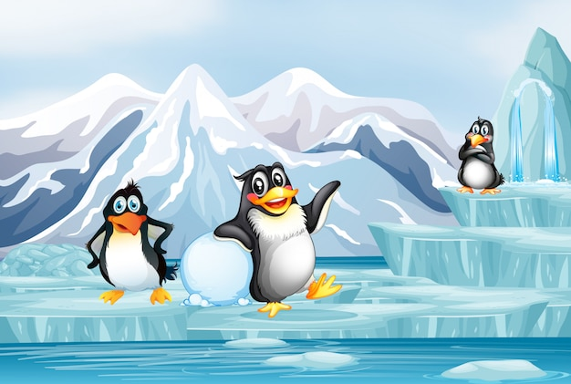 Scene with three penguins on ice