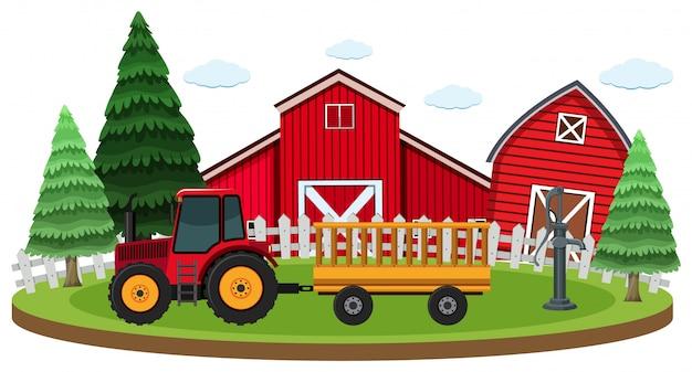 농장에서 트랙터와 헛간 장면