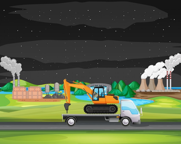 Scene with truck driving along the industrial zone