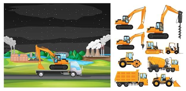 산업 지대를 따라 운전하는 트럭이 있는 장면
