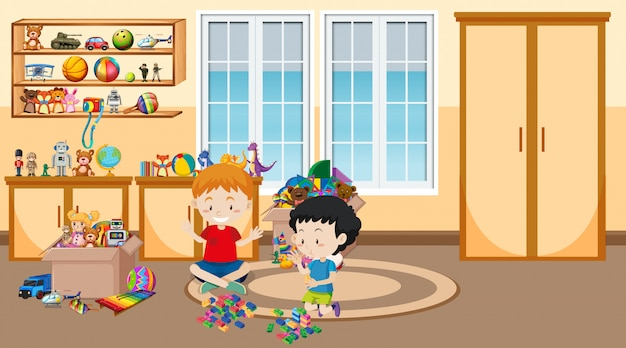 Scene with two boys playing in the room