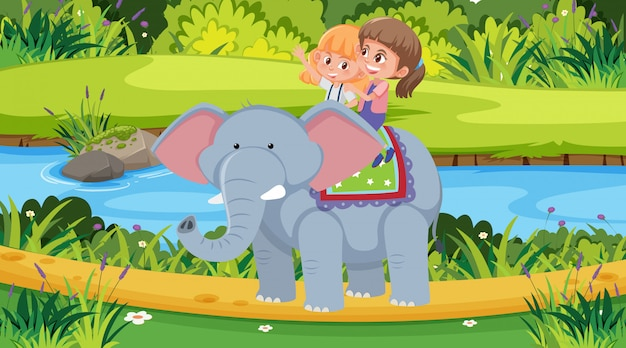 Scene with two girls riding elephant in the park