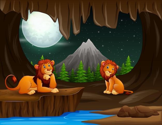 夜の洞窟で2頭のライオンがいるシーン