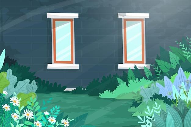 温室の壁に2つの窓があるシーンは、日光に照らされ、美しい花と植物が正面にあり、風景イラスト