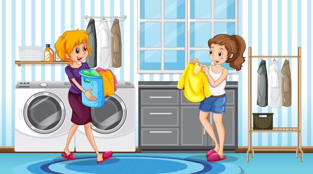 洗濯室に2人の女性がいるシーン