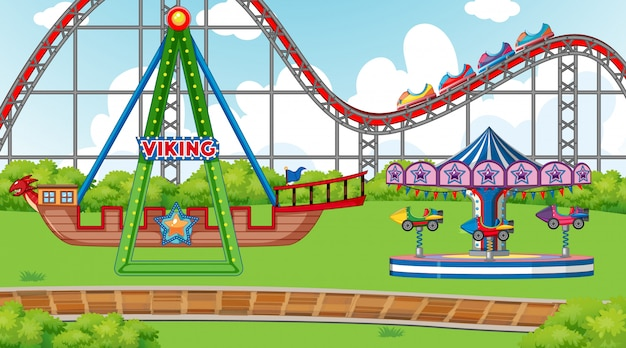 Scene with viking ship and roller coaster in the fair