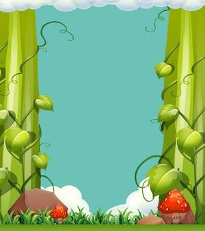Scene with vine and mushrooms