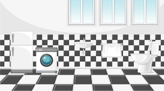 トイレに洗濯機と冷蔵庫があるシーン