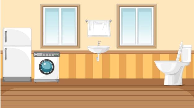Scena con lavatrice e frigorifero in bagno