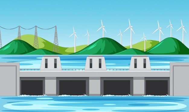 Scene with water dam and wind turbines on the hills