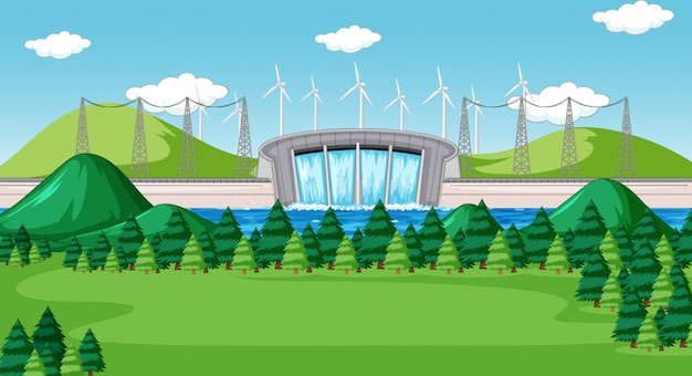 Scene with water dam with turbines on the hills