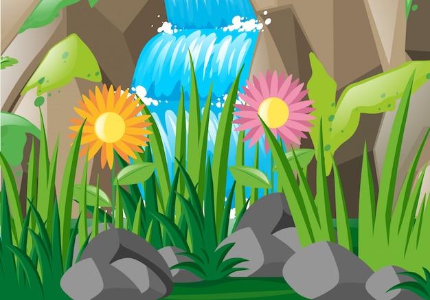 滝と花のある風景