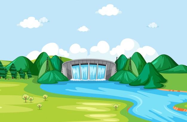 水門と川のある風景