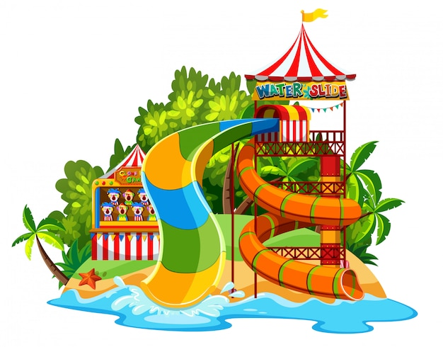 Scene with waterslide in the waterpark on white background