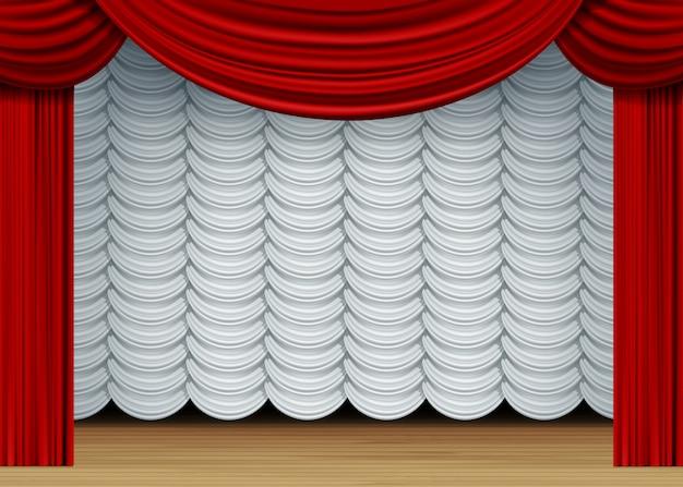 Сцена с белыми и красными шторами