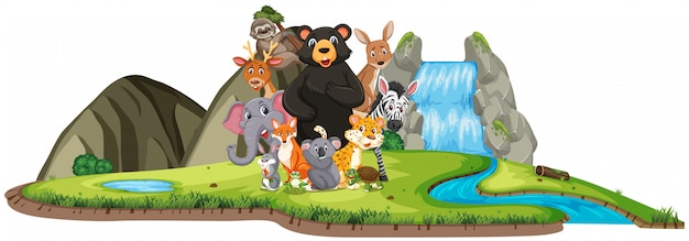 Scene with wild animals standing by the waterfall