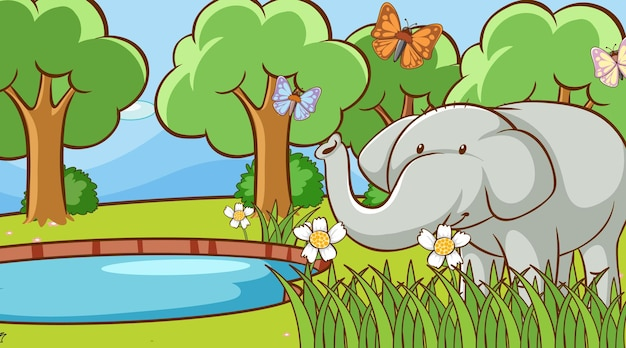 Scene with wild elephant in forest