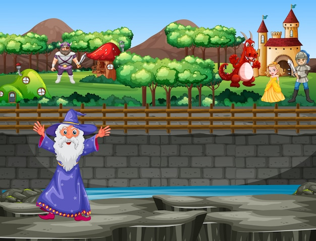Scena con mago e drago a palazzo