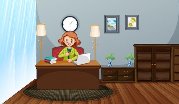 彼女のコンピューターで在宅勤務の女性とのシーン