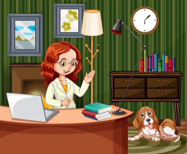 Сцена с женщиной, работающей на компьютере дома