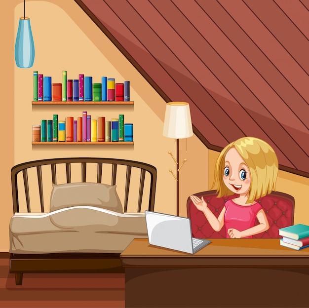 여자는 침실에서 컴퓨터에서 작업 현장