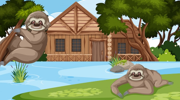 Scene with wooden cottage and cute sloth in the field