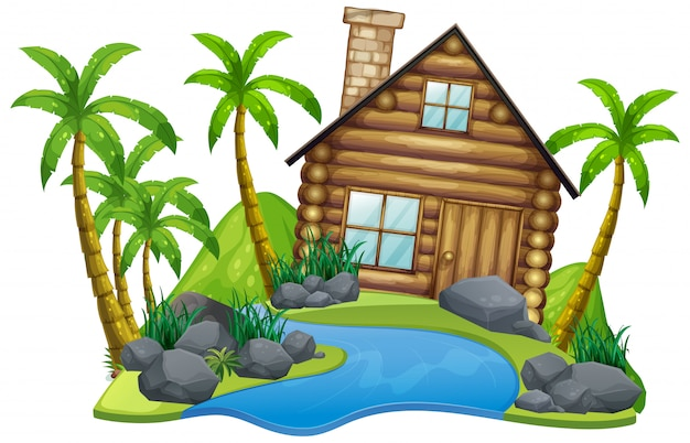 Scene with wooden house on the island on white background