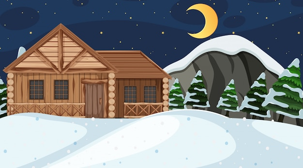 Scene with wooden house in the snow field at night