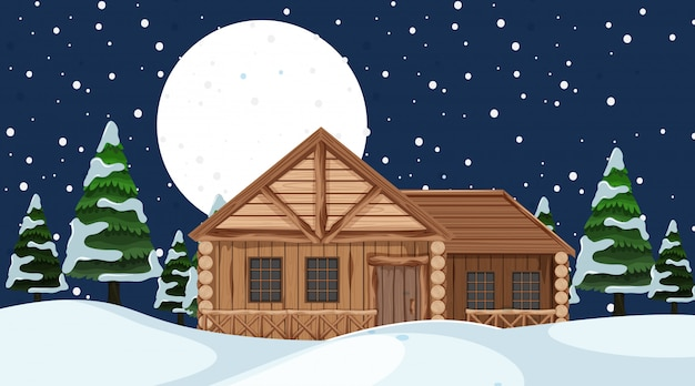 Scene with wooden house in the snow field