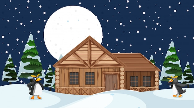 Scene with wooden house on the snow field