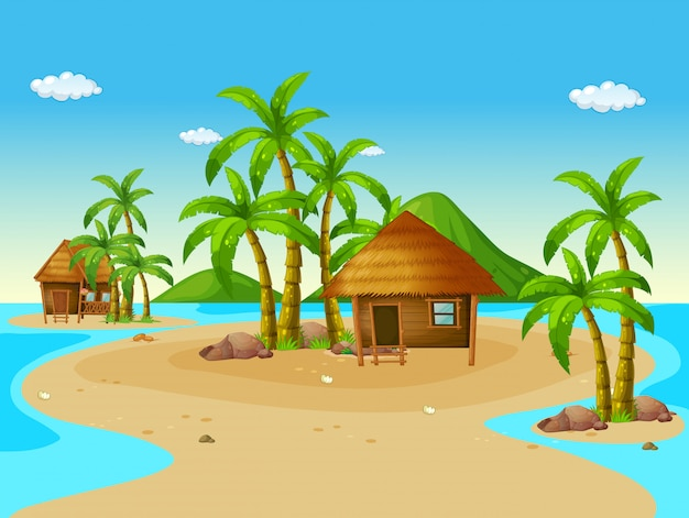 Scene with wooden huts on island