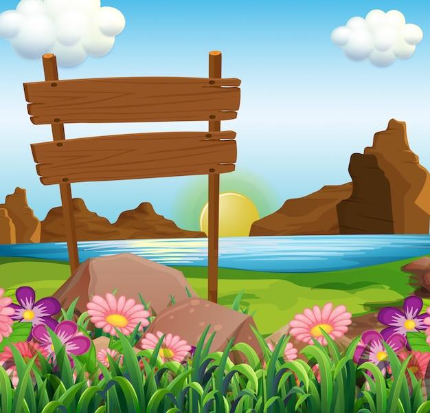 Сцена с деревянными вывесками у озера
