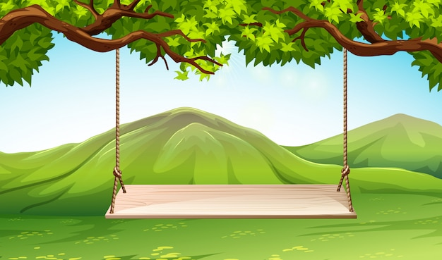 Сцена с деревянными качелями в парке