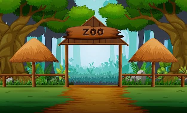 森の背景に動物園の入り口があるシーン