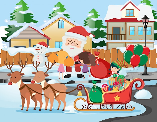 Scene witih santa and kids in the neighborhood