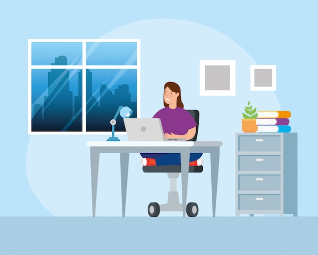 Scene woman working at home avatar character illustration design